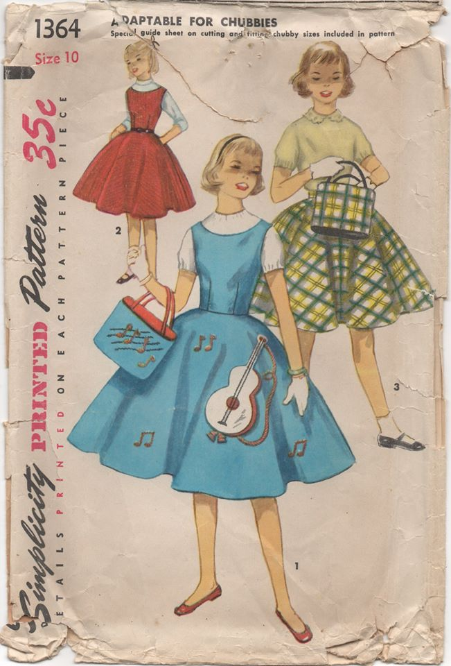 1950's Simplicity Dress, Flared Skirt and Tote Bag - Chest 28