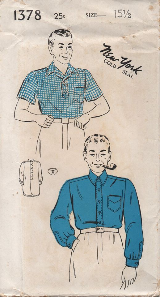 1940's New York Men's Pullover or Button Up Shirt - Chest: 40