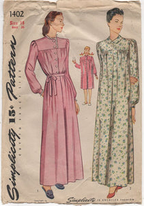 "1940's Simplicity Nightgown with Yoke and Long Sleeves in Two Lengths - Bust 36"" - No. 1402"