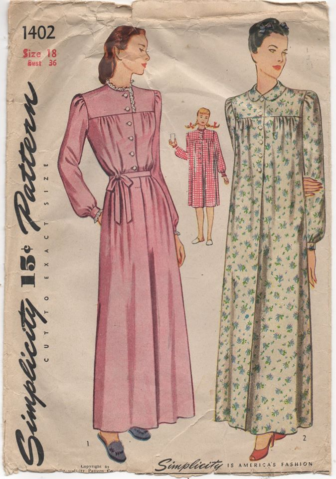 1940's Simplicity Nightgown with Yoke and Long Sleeves in Two Lengths - Bust 36
