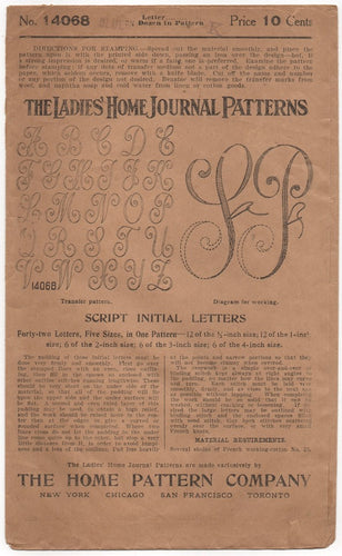 1910's Ladies Home Journal Script Letter Transfer