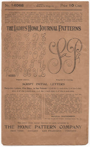 "1910's Ladies Home Journal Script Letter Transfer ""K"" - No. 14068"