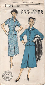 "1950's New York Two Piece Suit with Fitted Waist - Bust 32"" - No. 1434"