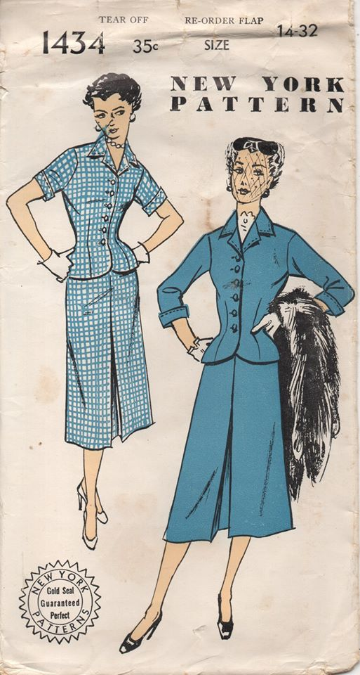 1950's New York Two Piece Suit with Fitted Waist - Bust 32