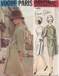 "1960's Vogue Paris Original - Pierre Cardin - One Piece Dress with Bow Detail and Side Button Coat - UC/FF - Bust 31"" - No. 1443"