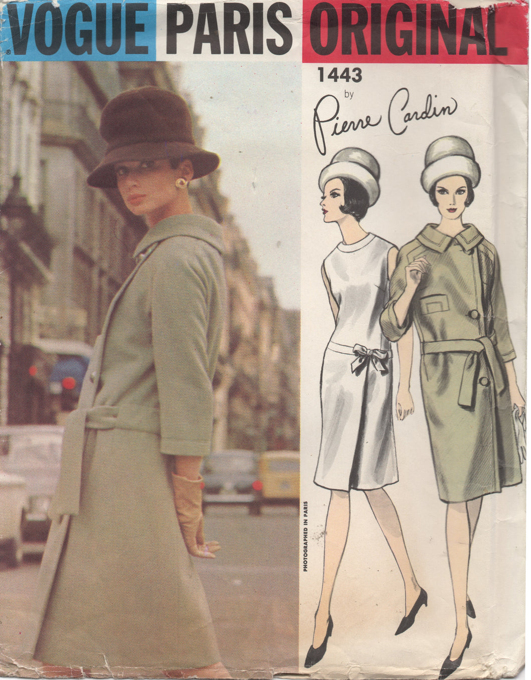 1960's Vogue Paris Original - Pierre Cardin - One Piece Dress with Bow Detail and Side Button Coat - UC/FF - Bust 31