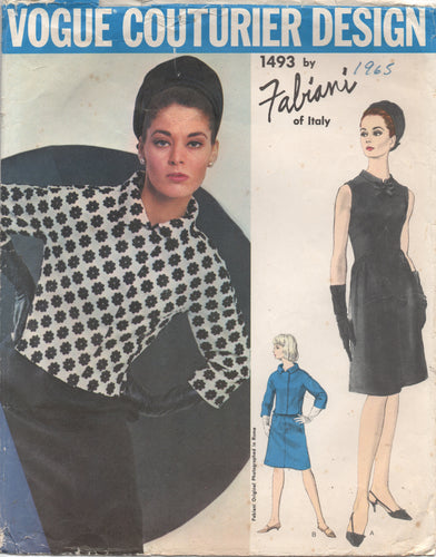 "1960's Vogue Couturier Design One Piece Dress with raised waistline, gathered skirt and Crop Jacket - Bust 34"" -No. 1493"
