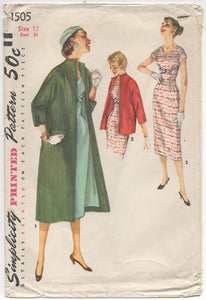 "1950's Simplicity One Piece Dress with Nipped Waist, Bow detail and Jacket - Bust 30"" - No. 1505"