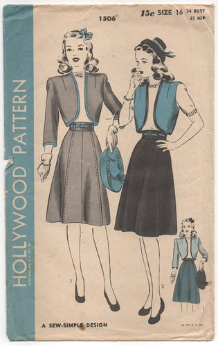 1940's Hollywood Bolero and Skirt Set Pattern - Bust 34