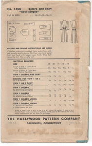"1940's Hollywood Bolero and Skirt Set Pattern - Bust 34"" - No. 1506"