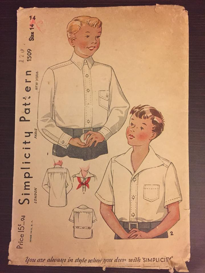 "1930's Simplicity Boy's Shirt with Two Collar styles - Chest 32"" - No. 1509"