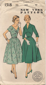 "1950's New York One Piece Dress with Raised Waist and Two Necklines - Bust 35"" - No. 1518"