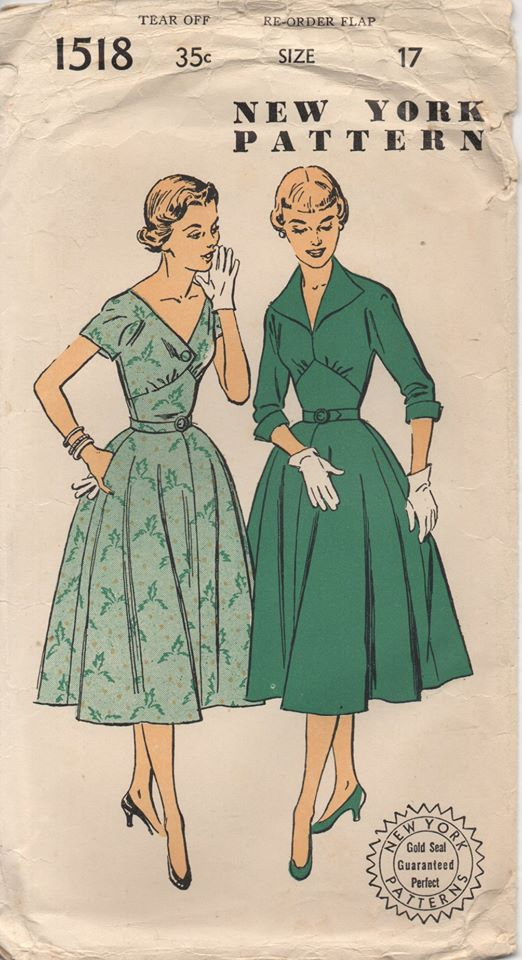 1950's New York One Piece Dress with Raised Waist and Two Necklines - Bust 35