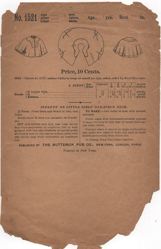 1910's Butterick Infant Cape/Sack Pattern - Bust 20
