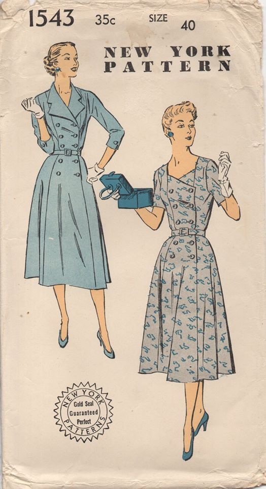 1950's New York Double Breasted Dress with or without collar - Bust 40