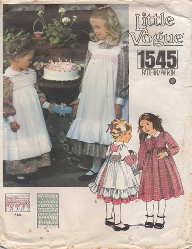 1970's Little Vogue Girl's Button Front Dress and Ruffle Pinafore with Smocking - Size 4 - No. 1545