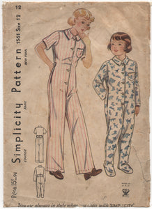 "1930's Simplicity Child's One Piece Pajamas with or without feet - Chest 30"" - No. 1561"