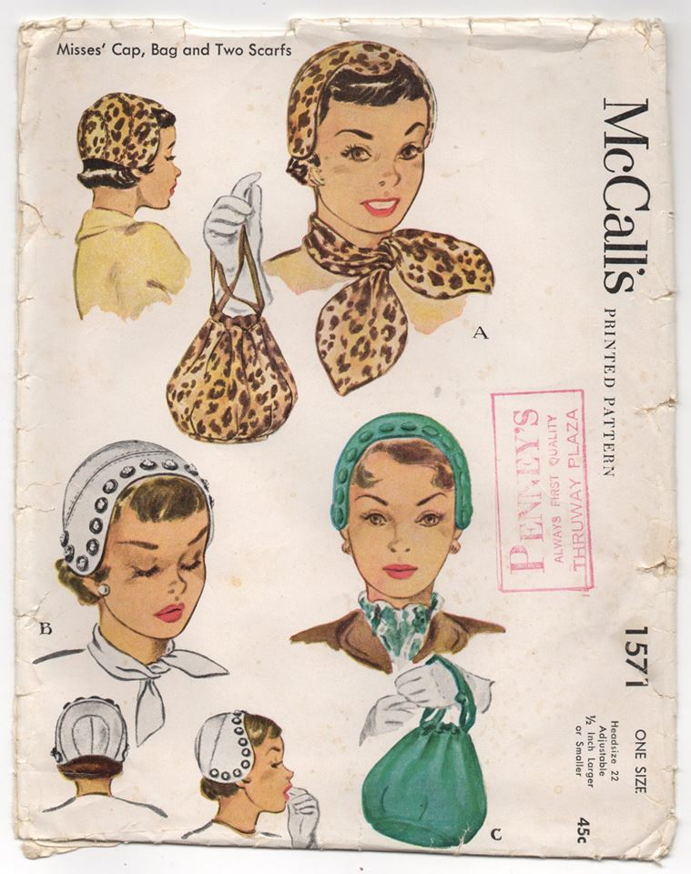 1950's McCall's Soft Cap, Two Scarf Styles, and Bag pattern - Head 22