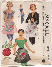1950's McCall Half Apron Pattern with UNUSED transfer - OS - No. 1594