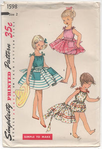 "1950's Simplicity Child's One Piece Playsuit and Gathered Overskirt - Chest 21"" - No. 1598"