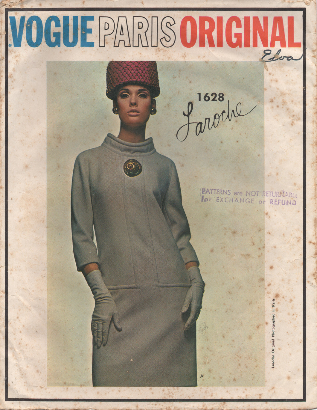 1960's Vogue Paris Original Mod One Piece Dress with Loose Fitting Bodice - Bust 32.5