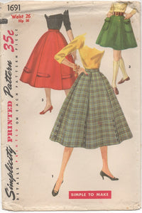 "1950's Simplicity 6 Gore Skirt in Two Lengths Pattern - Waist 26"" - UC/FF - No. 1691"