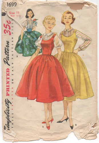 1950's Simplicity One Piece Jumper, Skirt or Blouse with Puff Sleeves - Bust 31.5