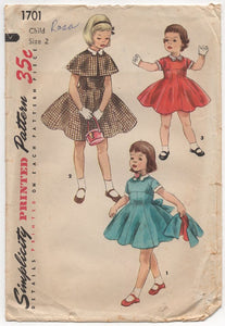 "1950's Simplicity Child's One Piece Dress with Empire style waist and Cape- Chest 21"" - No. 1701"