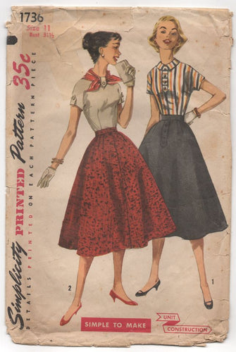 1950's Simplicity Blouse with Tab Accent and Flared Skirt - Bust 31.5