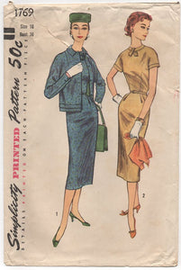 "1950's Simplicity One Piece Wiggle Dress with Tab Accent and Bolero Pattern - Bust 36"" - No. 1769"