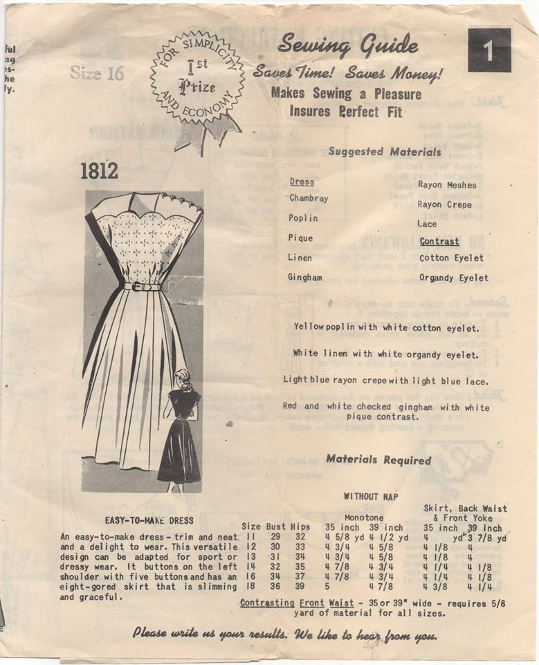 1940's Mail Order One Piece Dress with Scallop Bodice and Button Shoulder - Bust 34