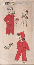 1940's New York Child's Overalls, Jacket and Cap Pattern - Vtg. Size 4 - No. 1823