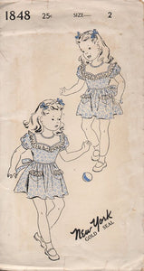 "1940's New York Child's One Piece Dress with Large Yoke and Tie Back - Chest 21"" - No. 1848"
