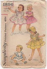 "1950's Simplicity Child's One Piece Dress, Pinafore and Bonnet - Chest 19"" - No. 1896"