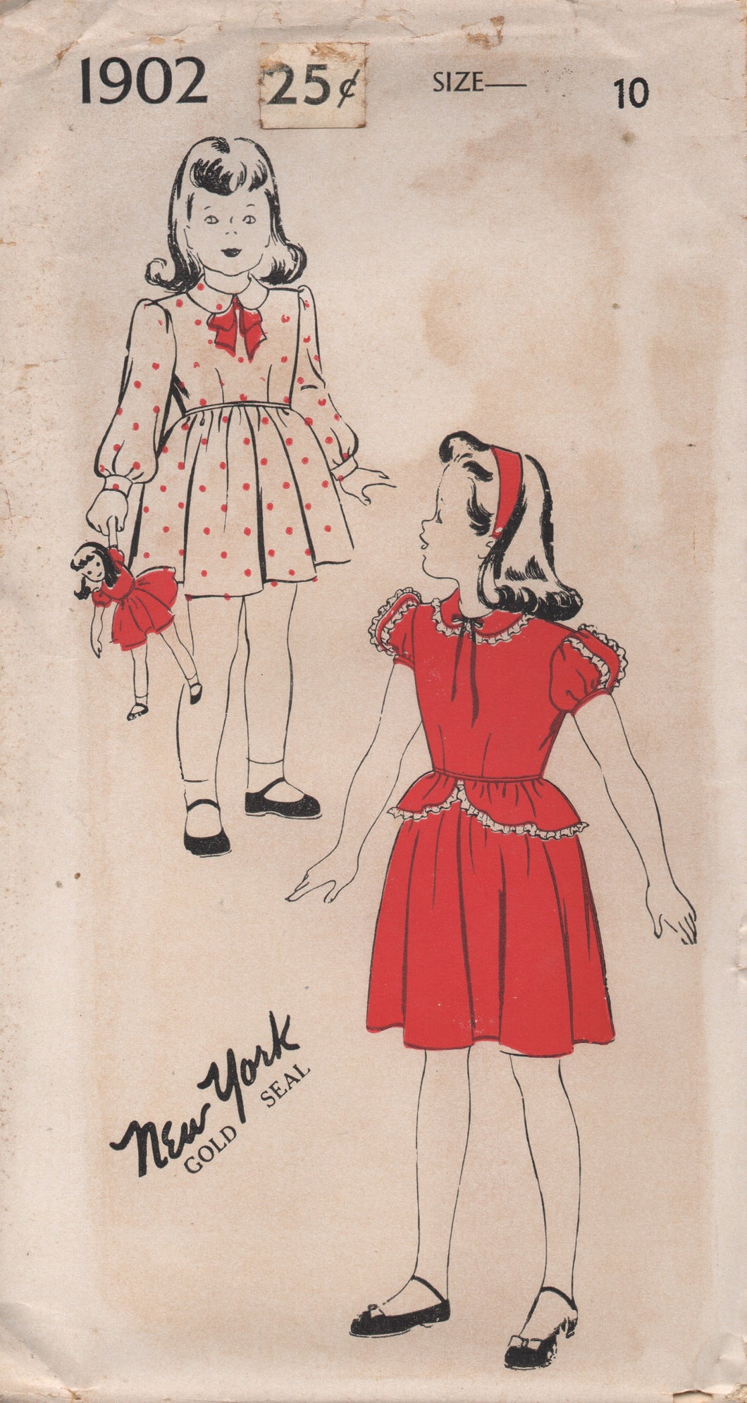 1940's New York Girl's One Piece Dress with Peter Pan Collar and Peplum - Chest 28