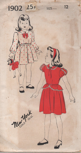 1940's New York Girl's One Piece Dress with Peter Pan Collar and Peplum - Chest 30