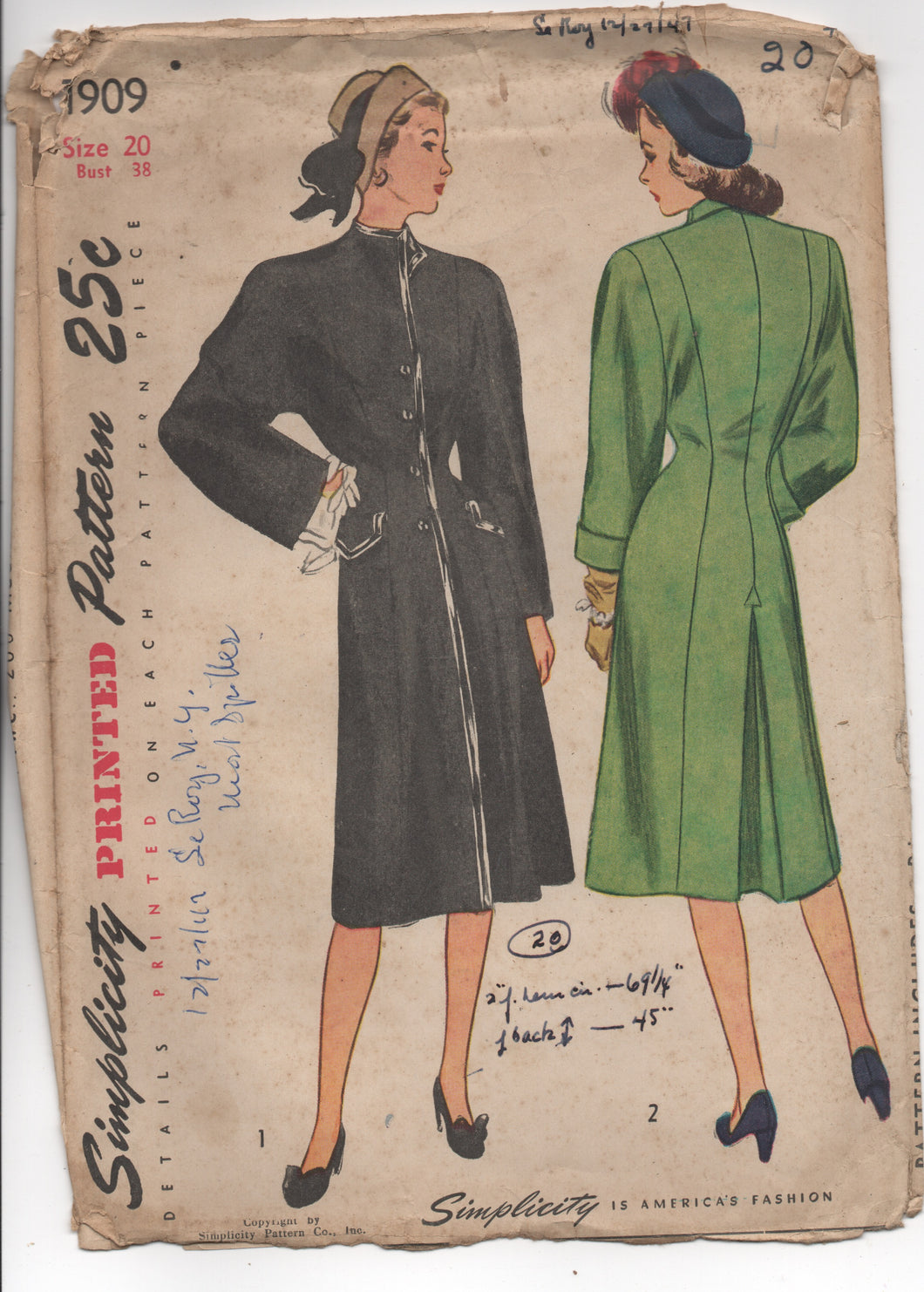 1940's Simplicity Coat with Wide Sleeves and Stand Up Collar - UC/FF - Bust 38