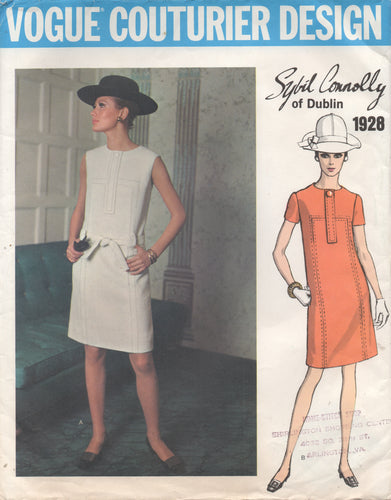 1960's Vogue Couturier Design - One Piece Dress with Band and Tab accents - Bust 32.5