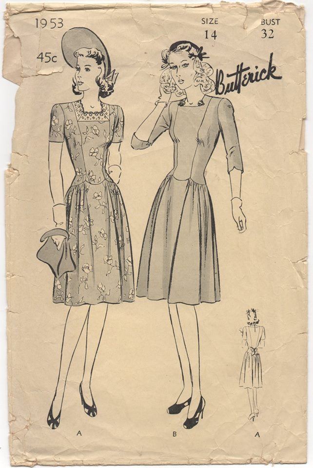 1940's Butterick One Piece Dress with Drop Waist and Gathered sides - Bust 32
