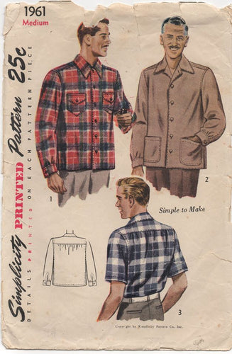 1940's Simplicity Men's Button Up Shirt - Chest 38-40