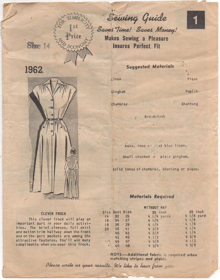1940's Mail order One Piece Dress with gathered shoulders and pointy pockets - Bust 32