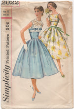 "1950's Simplicity One Piece Fit & Flare Dress with Fitted Waist with Mock Bolero - Bust 32"" - No. 2022"