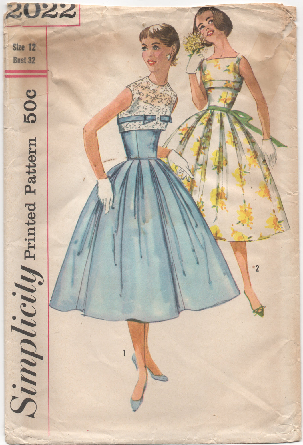 1950's Simplicity One Piece Fit & Flare Dress with Fitted Waist with Mock Bolero - Bust 32