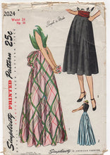 "1940's Simplicity Maxi or Midi Skirt with Bustle option - Waist 24"" - No. 2024"