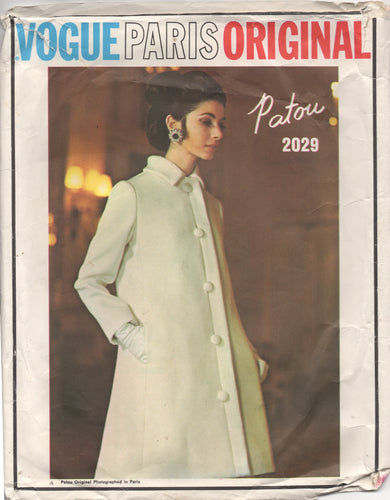 1960's Vogue Paris Original Two Piece Dress and Princess Line Coat Pattern - JEAN PATOU - Bust 34