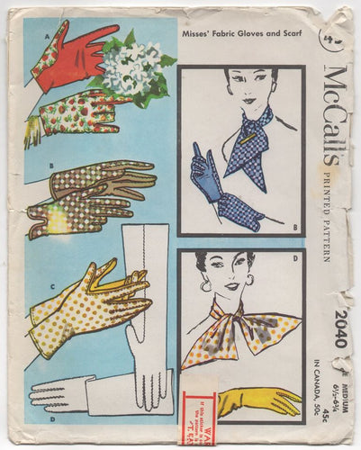 1950's McCall's Short or Long Glove and Scarf pattern - Medium - No. 2040
