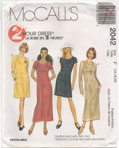 "1999 McCall's Two hour Dress with Two Sleeve lengths - Bust 38-40-42"" - No. 2042"