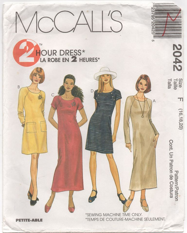 1999 McCall's Two hour Dress with Two Sleeve lengths - Bust 38-40-42