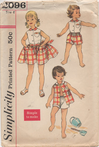 1950's Simplicity Child's Blouse, Shorts and Wrap Skirt - Size 6 - No. 2096