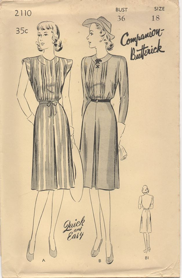 1940's Butterick Tailored Dress with Center Panel - Bust 36